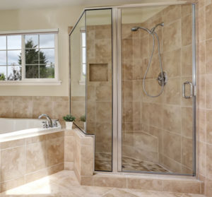 Luxury bathroom with tile walls and flooring