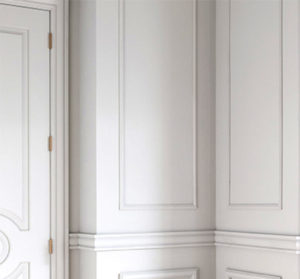 White wall with moulding trim