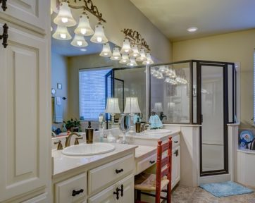 Bathroom interior with sink and shower